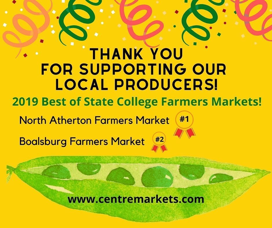 Congratulations to @northathertonfarmersmarket and @boalsburg_farmers_market for winning the Gold and Silver awards in the Best of State College Farmers Market category! #localfood #farmersmarket #hvagventures #centralpa #papreferred #centremarkets