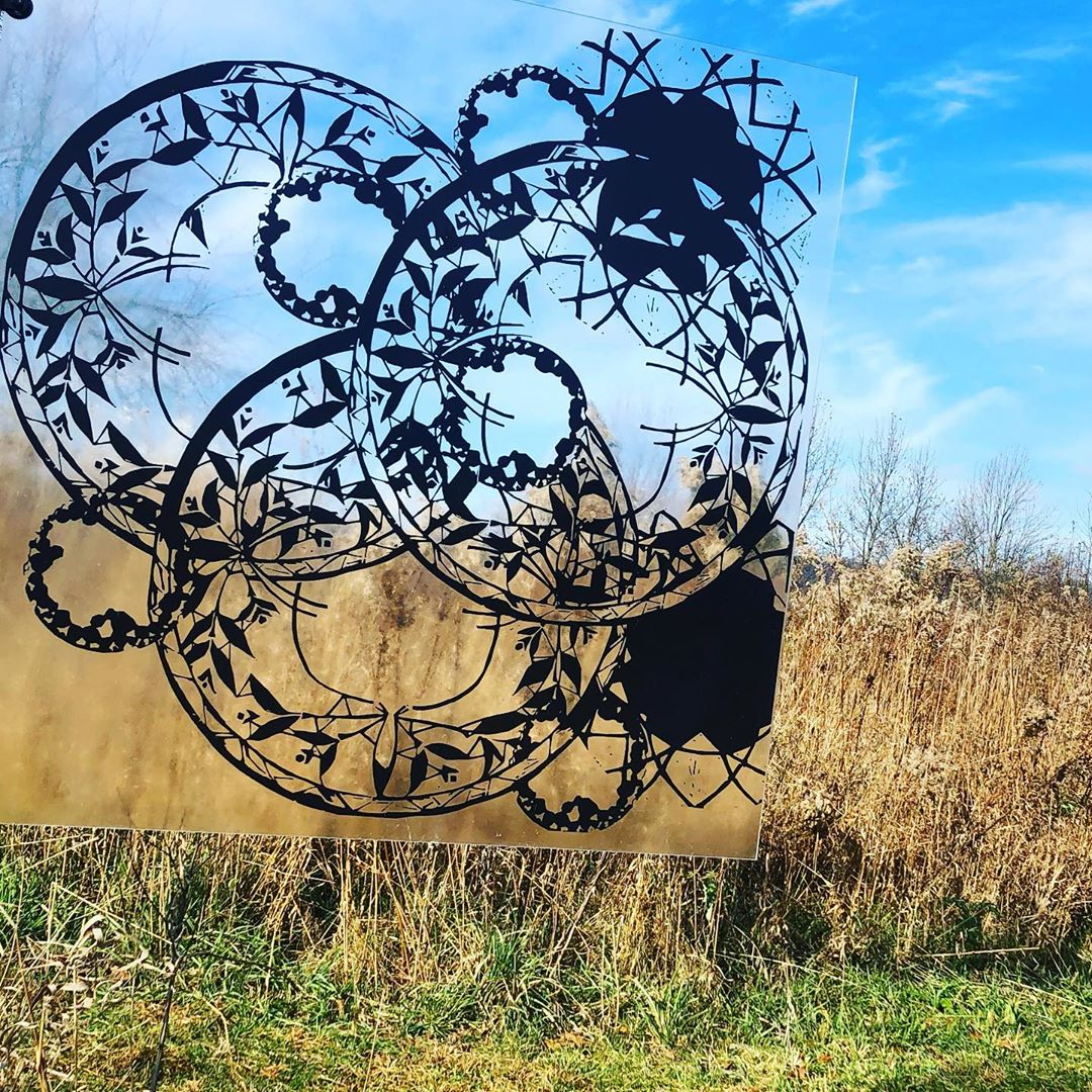We love seeing @elaineelledge 's art installation in the meadow change with the winds and changing skies. #artinthemeadow #changewiththeseasons #centralpa #HVAgventures