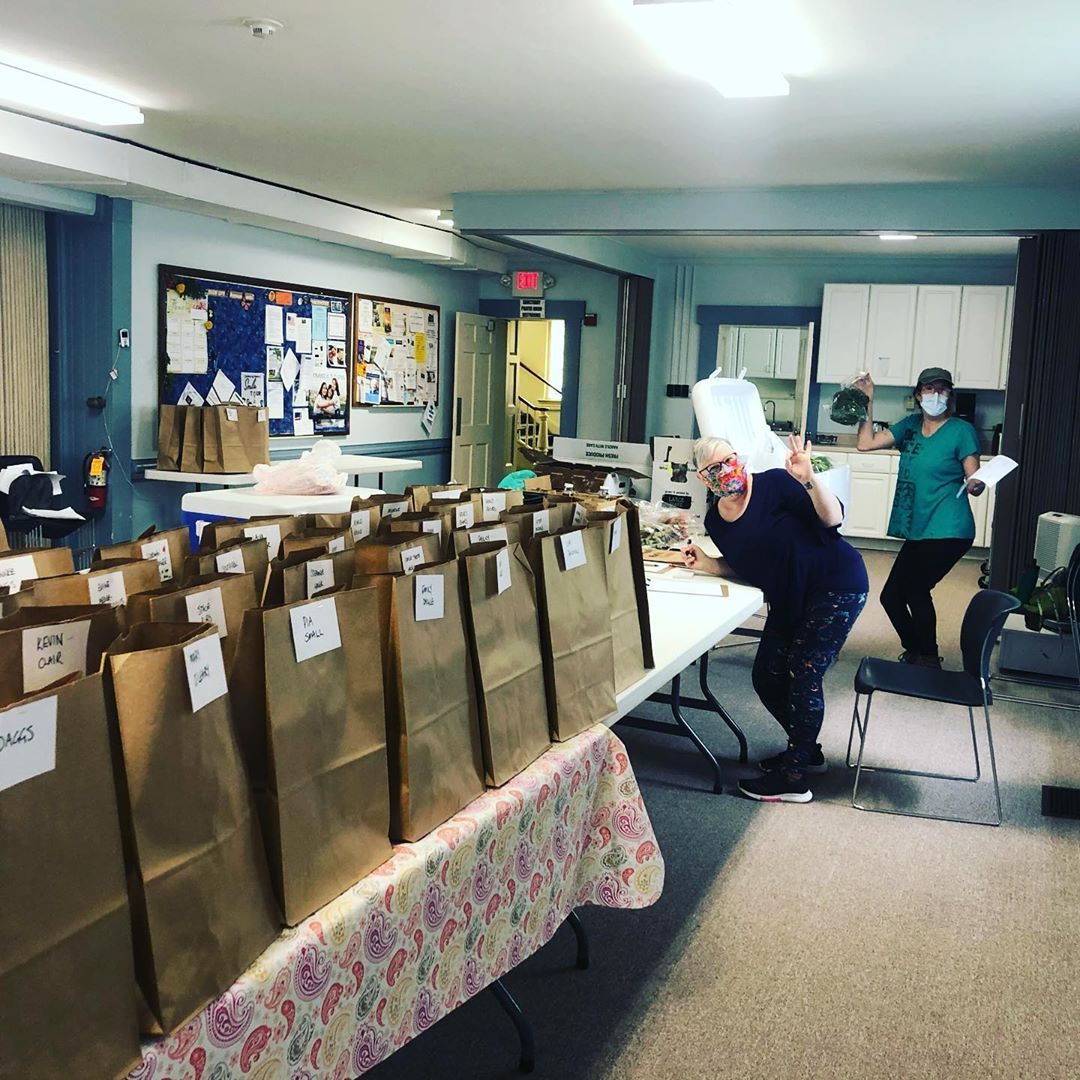 A look behind the scenes of assembling today's pre-orders! Our assembly line and social distancing setup utilized 8 full size tables. Thanks to my amazing helpers Em and Mairi! #localtogether #onlinefarmersmarket #eatlocalcentrecounty #centremarkets #hap