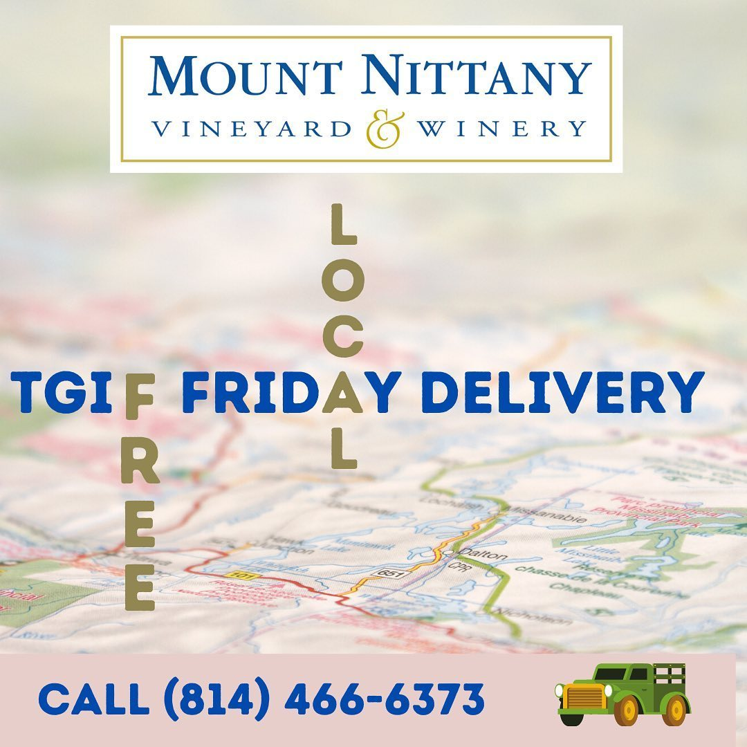 FYI PA wineries are not yet permitted to allow on premises consumption of wine purchased for take-out . . . so we will deliver to your premises if you are local! Call during our temporary hours (1-3pm. Tues-Sat) to place your order. #mtnittanywinery #mou